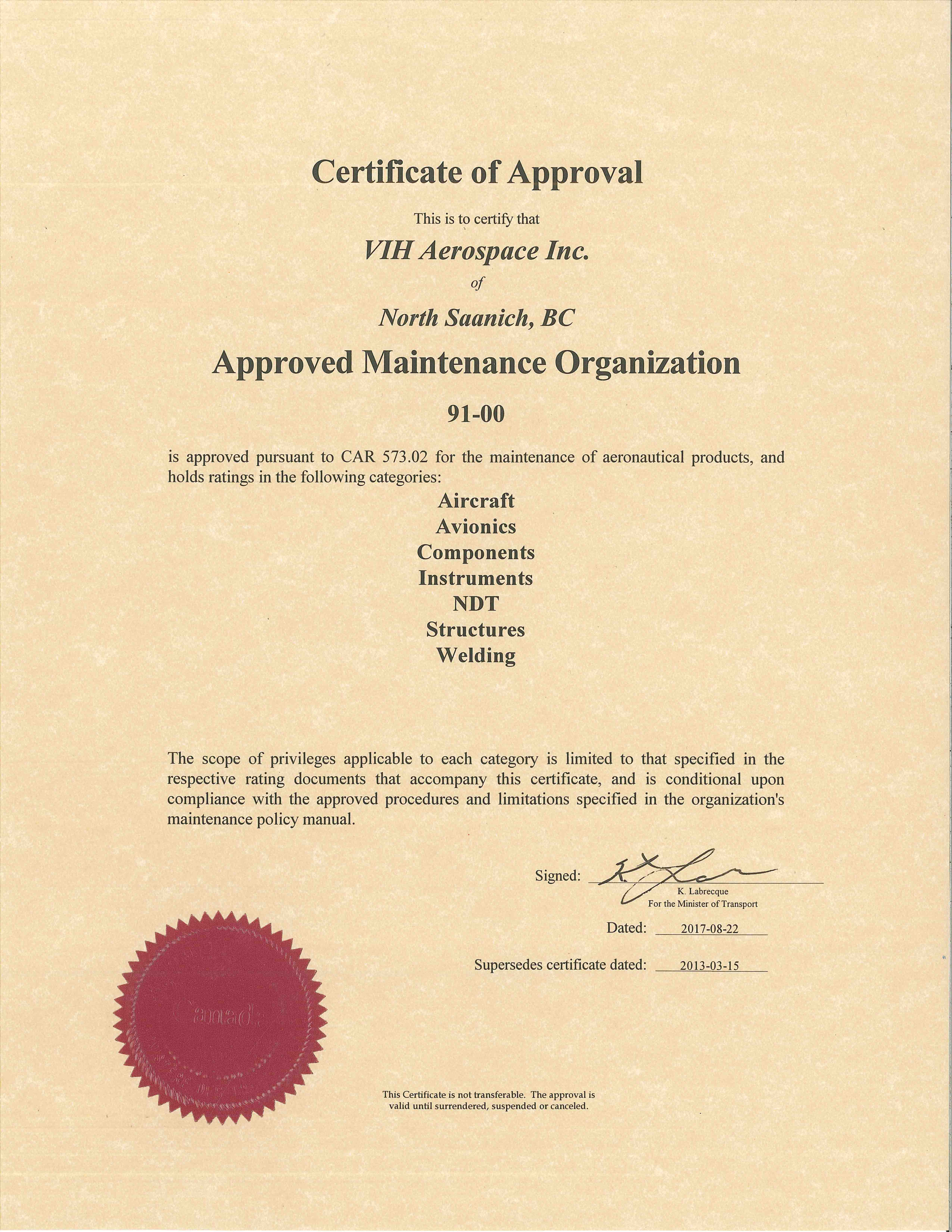 certificates  u0026 approvals