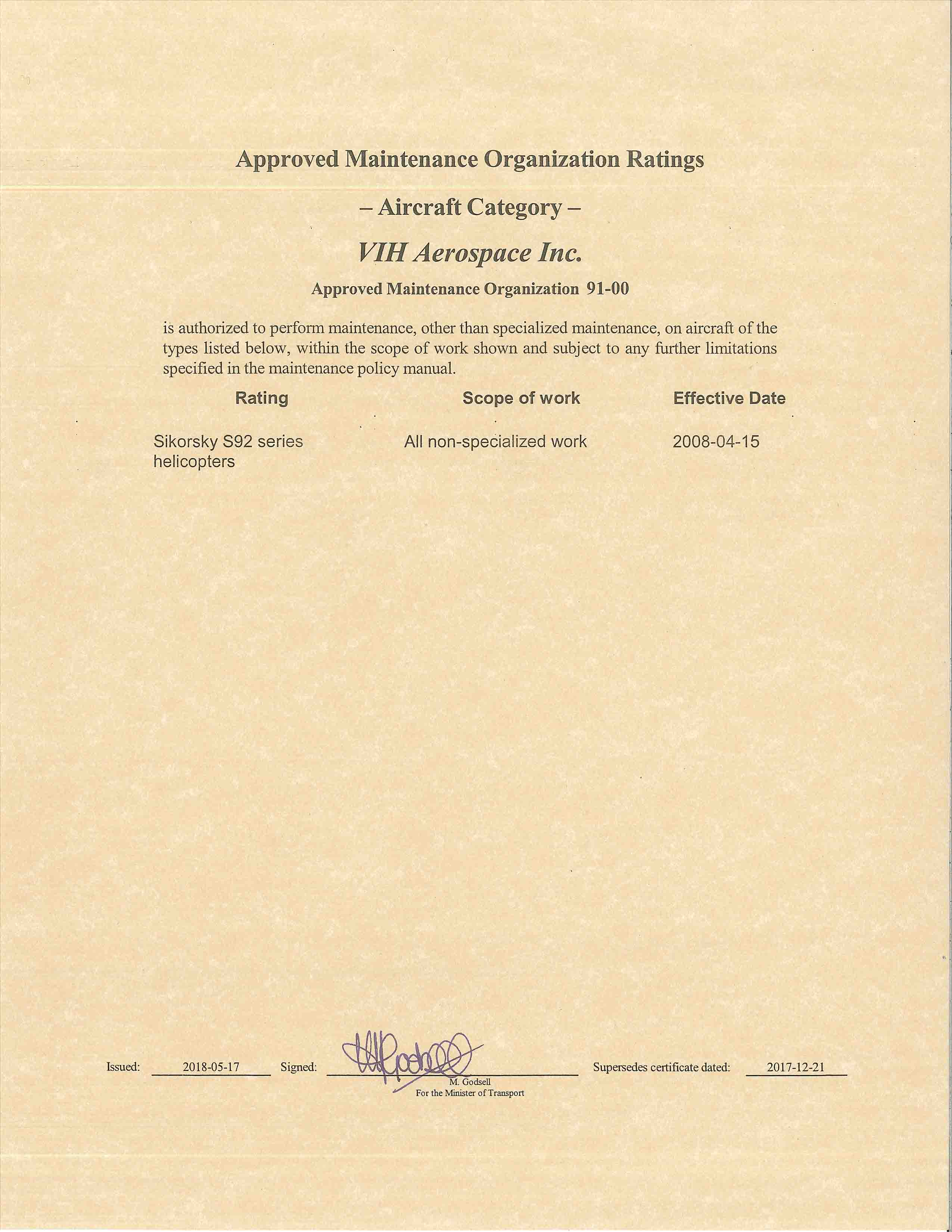 Certificates & Approvals | VIH Aerospace