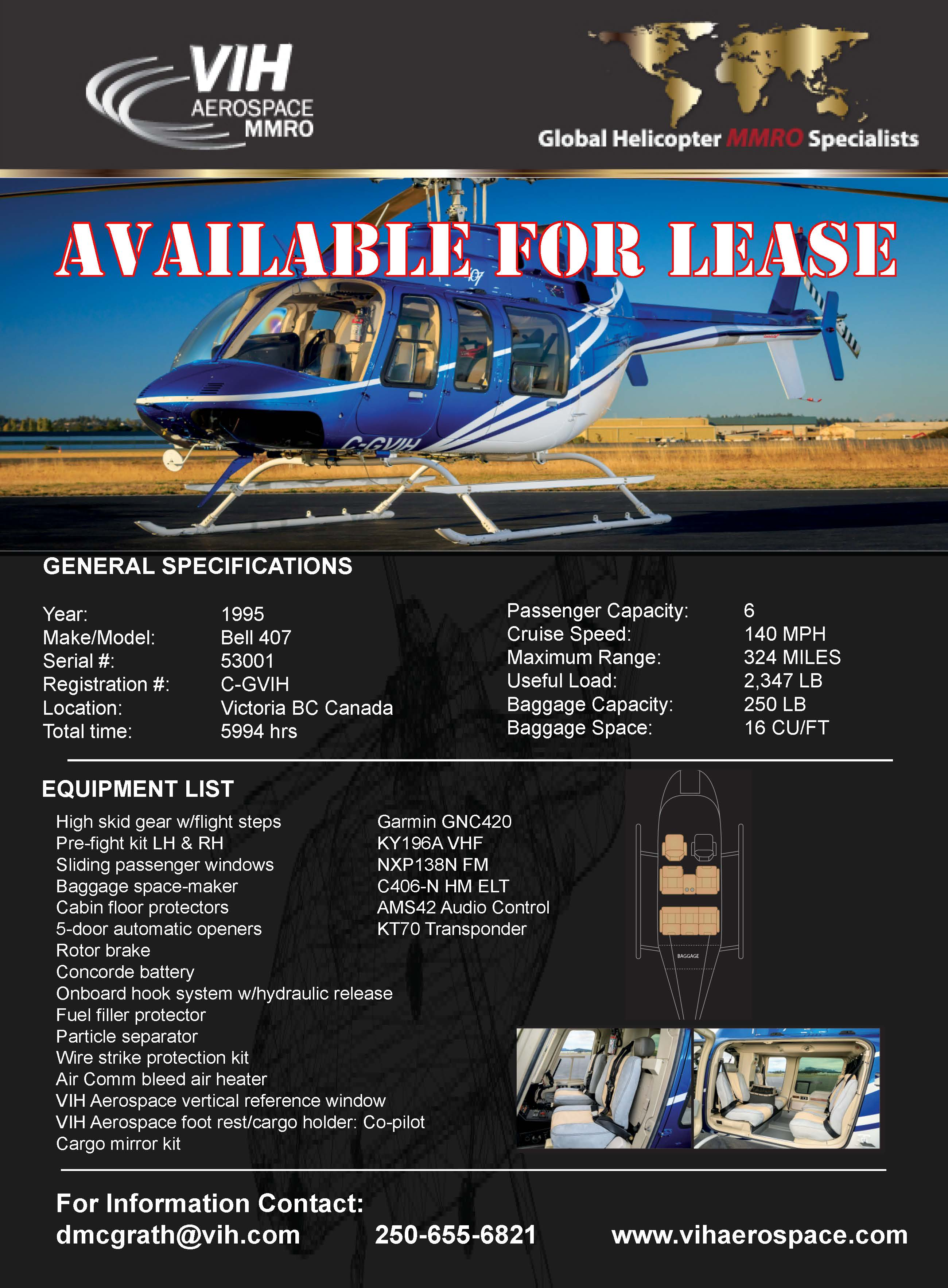 Bell 407 for lease